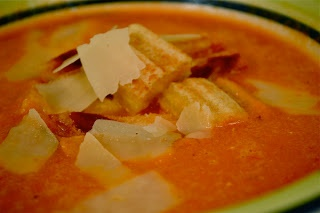 Grilled Cheese Croutons on homemade Roasted Tomato Soup with a shaving ...