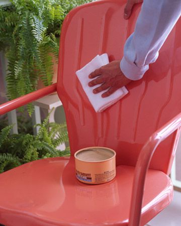 Metal Protector.  The same carnauba paste wax that maintains a car's finish does a dynamite job on painted metal furniture. Once a season, apply an even coat with a damp terry cloth towel to furnishings; let dry, then lightly buff with a soft cotton rag. The wax will repel water, preventing rust, and also restore luster to dull paint.