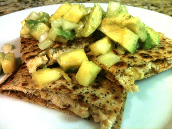 Crab Quesadillas with Mango and Avocado Salsa