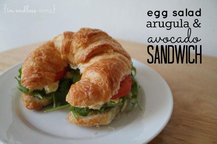 egg salad, arugula & avocado sandwich | delish! | Pinterest