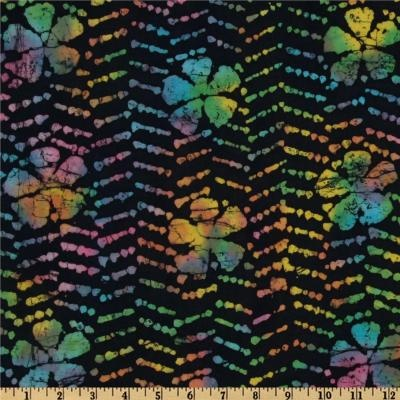 Yard Bali Batik Fabric Black Magic Rainbow Flowers Quilting Quilt ...