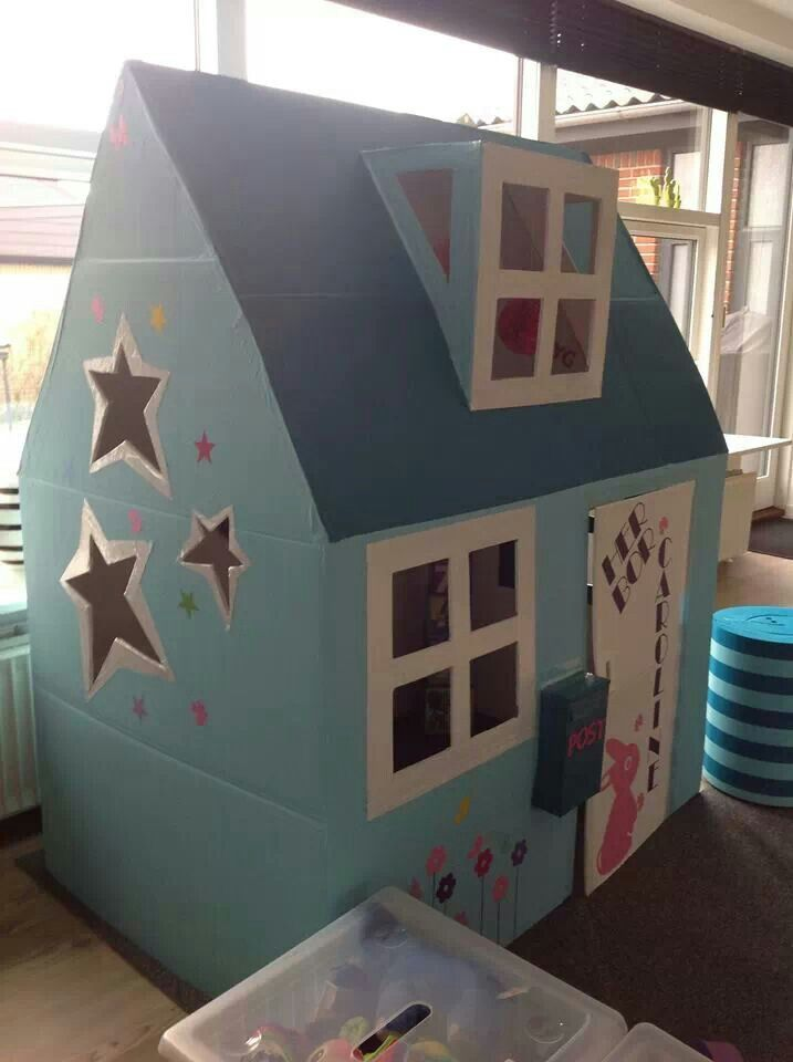 Cardboard House For The Kids Pinterest