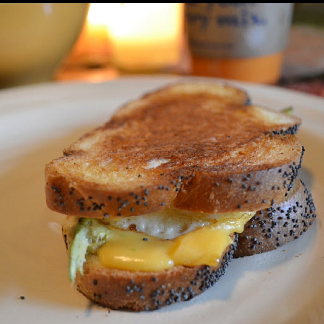 Avocado, egg, and cheddar grilled sandwich.