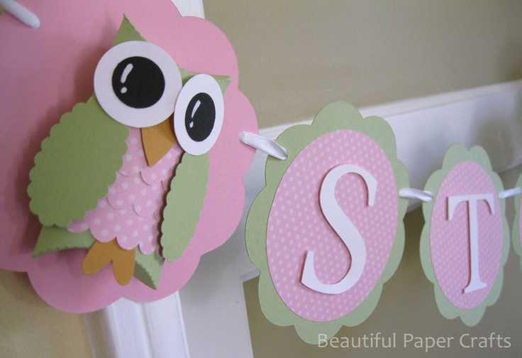pink and green owl name banner owl birthday party. Black Bedroom Furniture Sets. Home Design Ideas