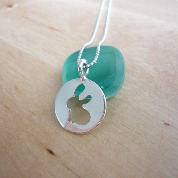 Cute bunny necklace  925 sterling silver by TaliaJewelry on Etsy, $38.20