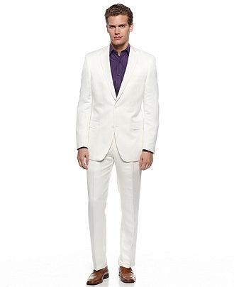 Tallia Orange Jacket, White Linen Slim Fit Blazer - Mens Suits & Suit Separates, $52.49| Macy's