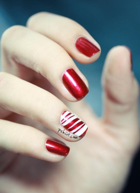 Candy cane nail art inspiraci 243 n en manicure pedicure pinterest