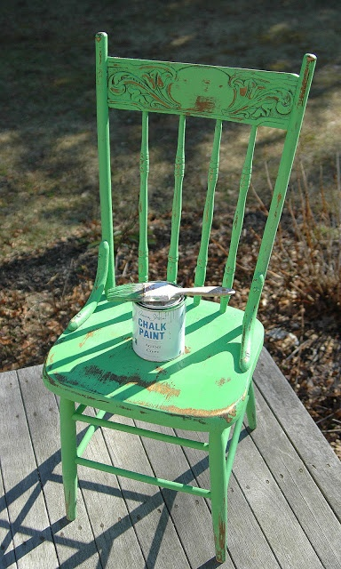 Spring Green Farmhouse Chair...  painted with Annie Sloan Chalk Paint in Antibes Green with a clear wax finish.