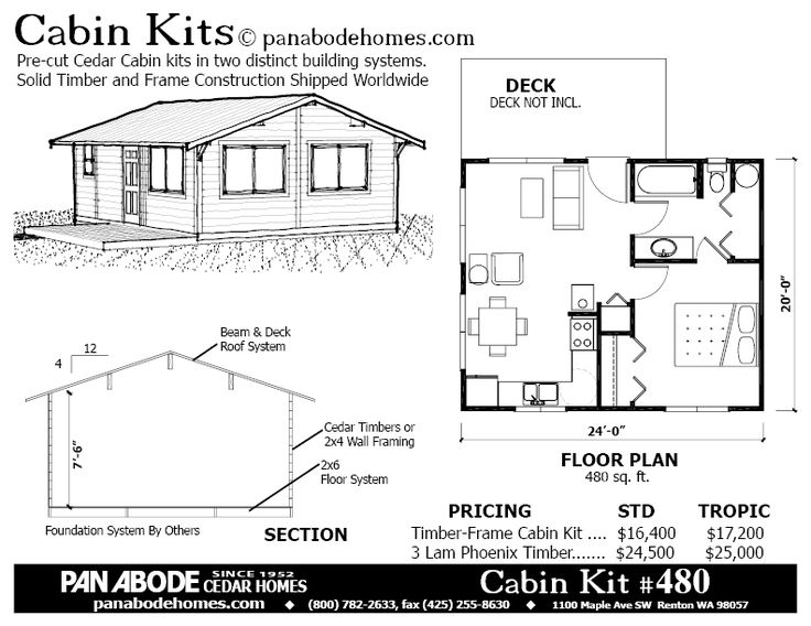 480 sq ft Tiny house floor plan kit
