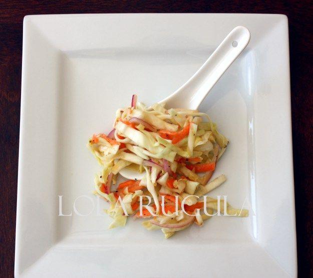 oil and vinegar no mayo coleslaw recipe found here: http://lolarugula ...
