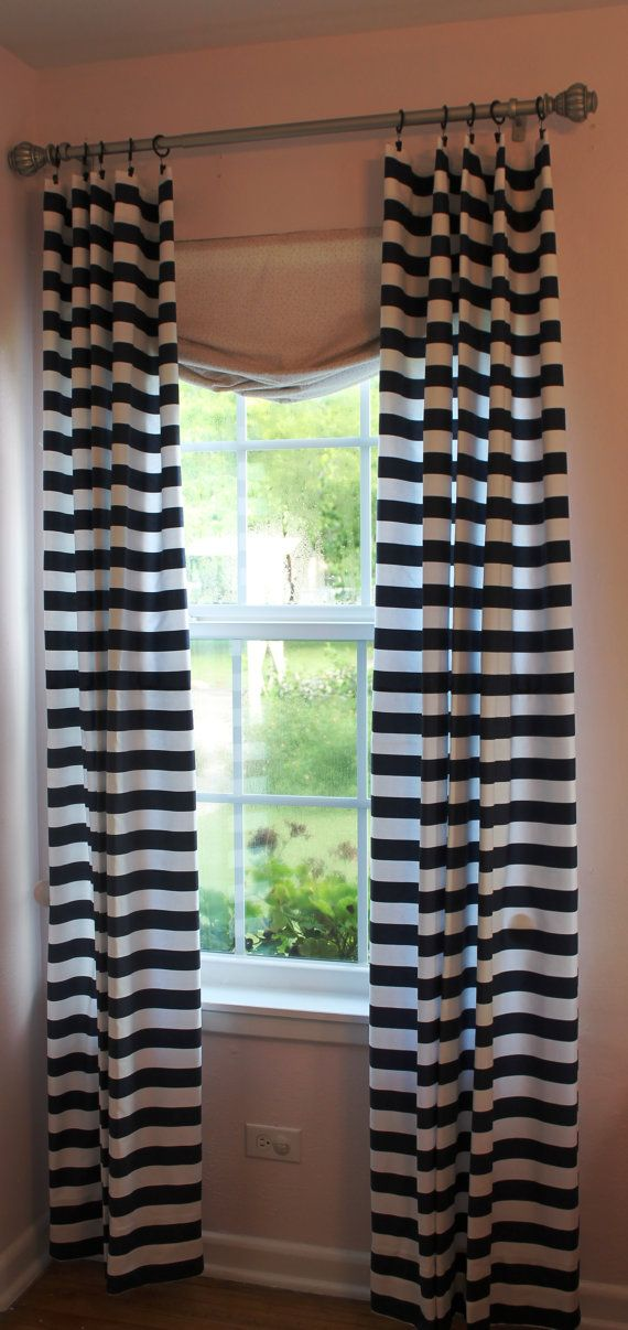 Navy and white horizontal stripe curtain by lafortunelinens 60
