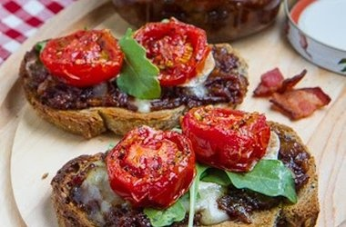 Bacon Jam Crostini with Melted Brie and Roasted Tomatoes — Punchfork