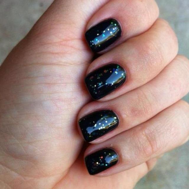 Black velvet gel nails with sparkles | Nails | Pinterest