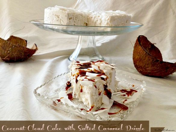 Coconut Cloud Cake with Salted Caramel Drizzle DAIRY AND GRAIN FREE