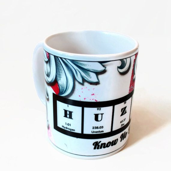 Chemistry Periodic Table Coffee Cup Mug Huzzah Bird Illustration Cele