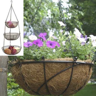 Make a hanging planter from wire baskets.