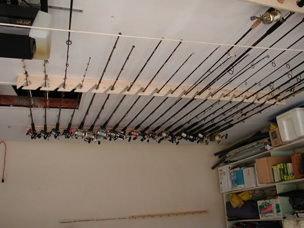 Ceiling rod rack ideas for Fishing rod storage ideas