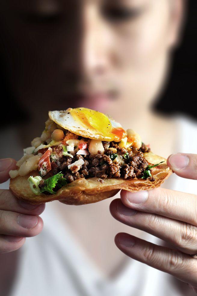 Easy mole-d beef tostadas, YUM! These look so good!