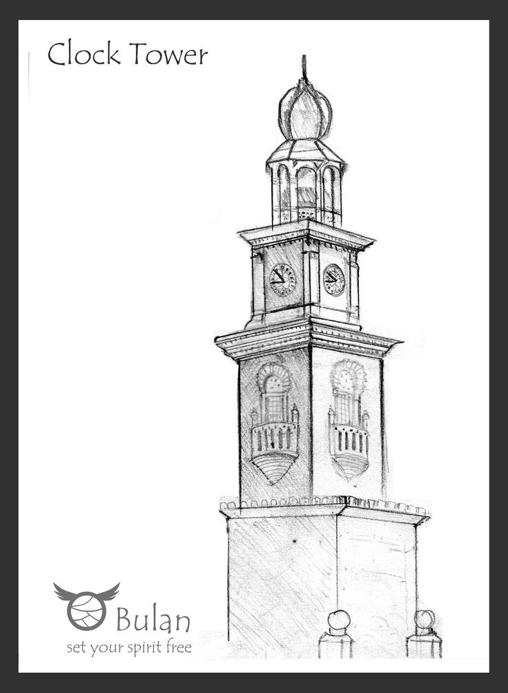 George town Penang Clock Tower | Illustration | Pinterest