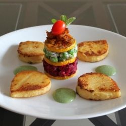 multi-layered vegetable stack with grilled polenta and creamy herb ...