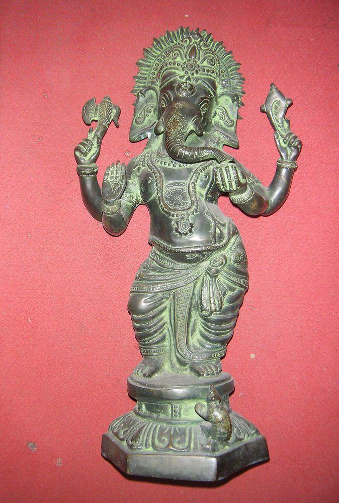 Collectible God Ganesha Statue Brass Large Elephant God ...
