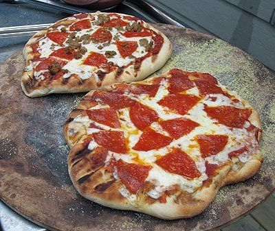 Pizza on the grill. I don't have a gas grill so I must borrow mom's t...