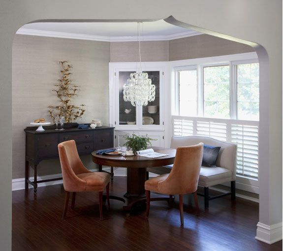 dining room shutters and corner cabinet decorating
