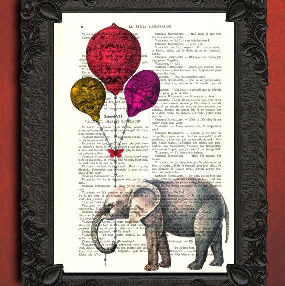 Elephant Print Elephant Home Decor Elephant Dictionary Art Print
