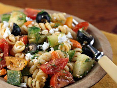 Greek pasta salad with sun-dried tomato vinaigrette