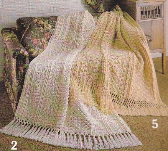 Crochet Pattern Aran Afghan : Fisherman Afghan Crochet Pattern - 6 Designs Aran Cable Look