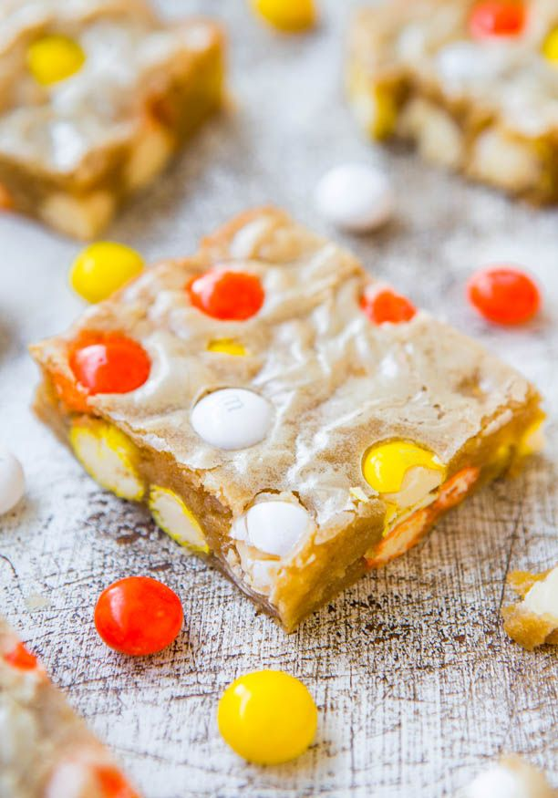 candy corn white chocolate m amp m blondies fast easy one bowl no ...