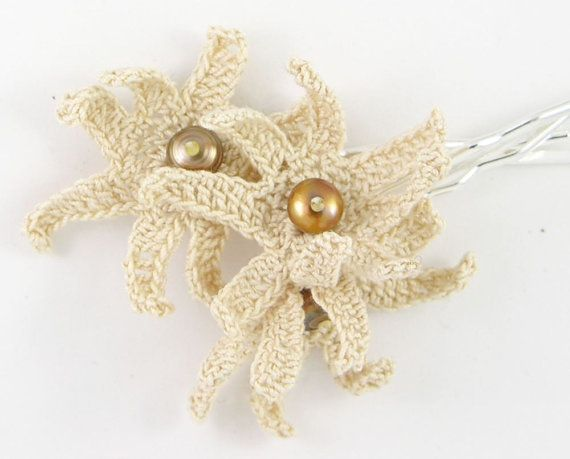 Crochet daisy set of 3 bobby pins ecru beige neutral crochet hair acc ...