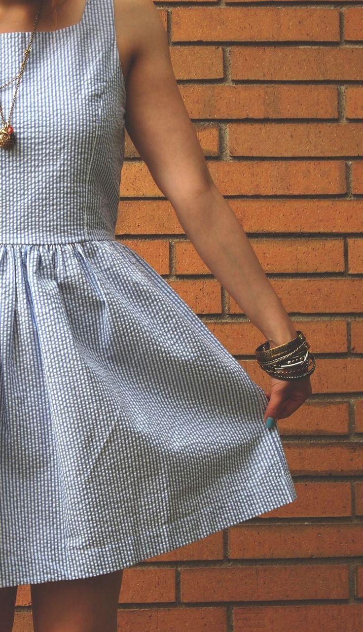 seersucker dress adorbs pinterest. Black Bedroom Furniture Sets. Home Design Ideas