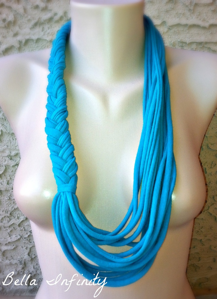 Bella Infinity Braided Scarf Up-Cycled Jersey Fabric Teal Turquoise C ...
