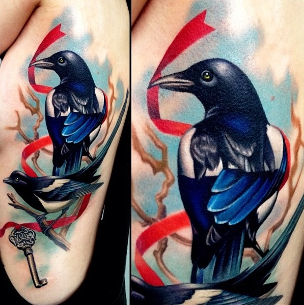 Traditional magpie tattoo - photo#14