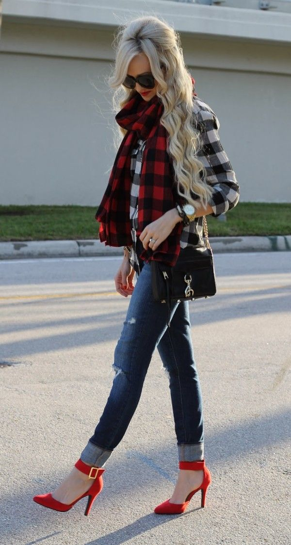 jeans scarf with red high heel shoes
