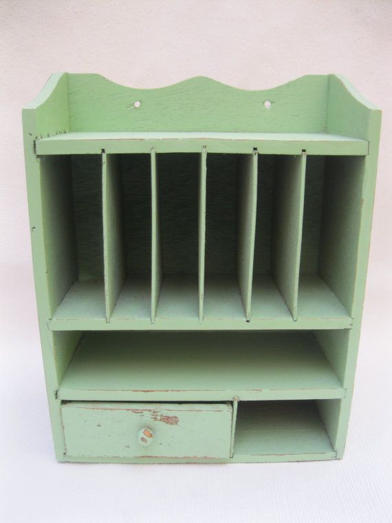 Mint Green Shabby Chic Wall or Desk top Storage Organizer