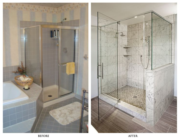 before and after remodels shower