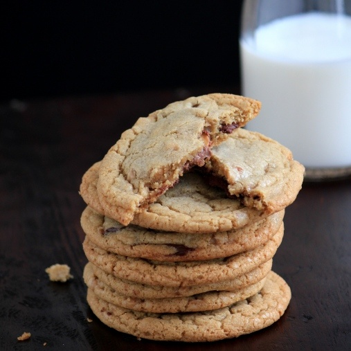 Rolo Stuffed Toffee Chocolate Chip Cookies