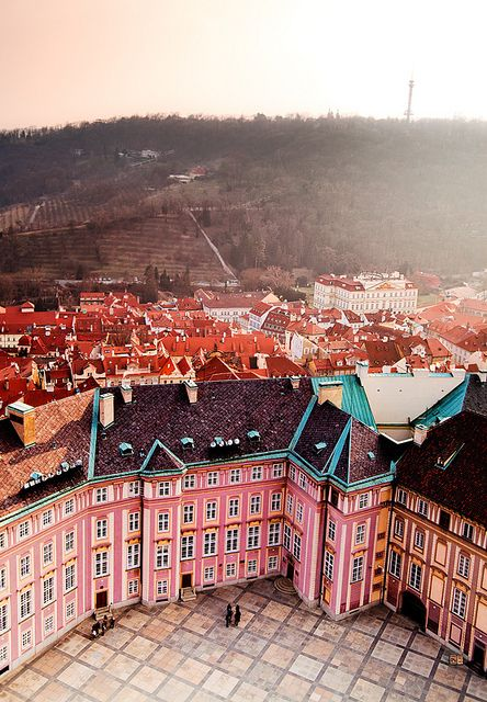 The Czech Republic - Prague    Pink buildings... I'm in love!