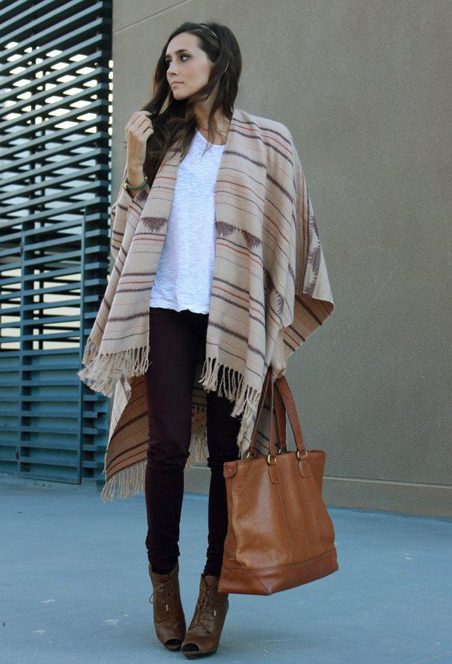 15 Highly Fashionable Poncho Outfit Ideas for Fall 2014