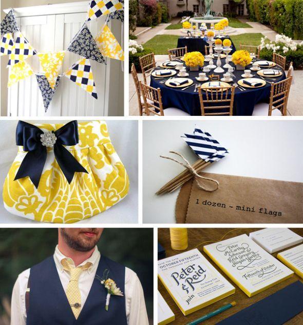 navy white and yellow wedding idea scrapbook pinterest