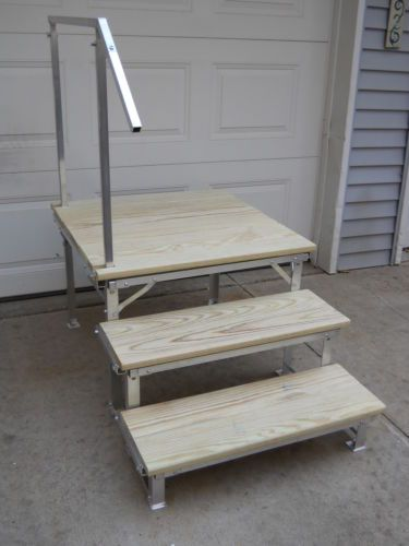 Portable Steps With Railing : Portable rv deck with steps and railings
