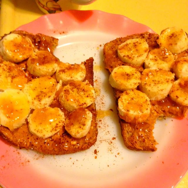 ... peanut butter, banana, honey, and cinnamon on toast. Just like home
