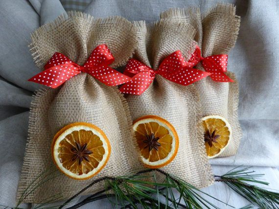 "For decoration I used homedried oranges and natural anise star. The bag is tied with a red bow with a small white polka dots. Bags not only look but also smell the Christmas. They measure inside approximately 6"" x 10.5"""