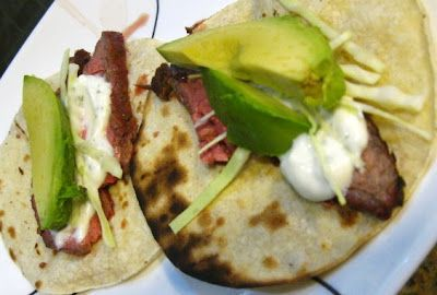 Marinated Flank Steak Tacos with Cilantro-Lime Sour Cream