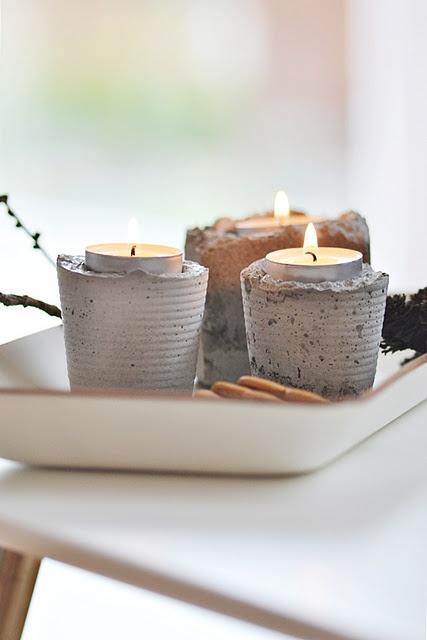 canelobres bricolatge concretes.  perfecte per a espelmes de citronela fora