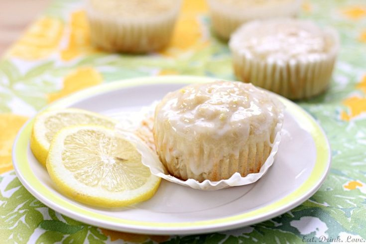 Tuscan Lemon Muffins with Lemon Glaze - Lemony muffins made with olive ...