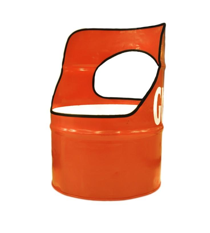Orange Metal Counter Stool