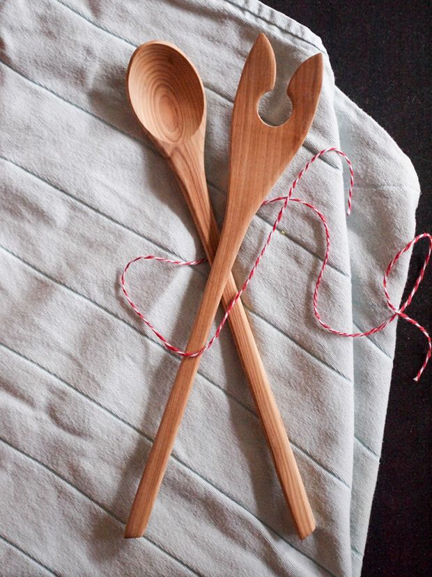 Hand carved Salad Servers from Finland.